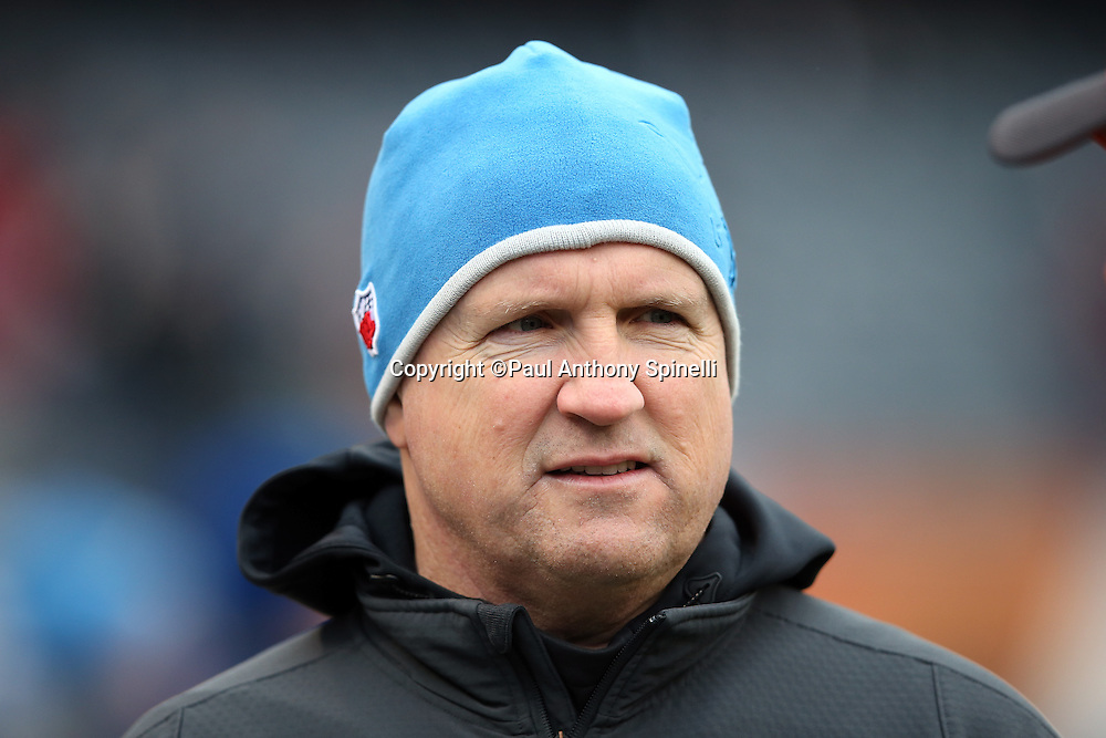 Detroit Lions linebackers coach Bill Sheridan looks on from the sideline before the NFL week 17 regular season football game against the Chicago Bears on Sunday, Jan. 3, 2016 in Chicago. The Lions won the game 24-20. (©Paul Anthony Spinelli)