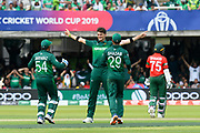 Wicket - Shaheen Afridi of Pakistan celebrates taking the wicket of Liton Das of Bangladesh during the ICC Cricket World Cup 2019 match between Pakistan and Bangladesh at Lord's Cricket Ground, St John's Wood, United Kingdom on 5 July 2019.
