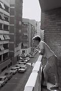 Boy on a hotel balcony, Benidorm, Spain, 1985