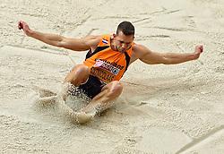 07-03-2015 CZE: European Athletics Indoor Championships, Prague<br /> Meerkamper Eelco Sintnicolaas is goed begonnen aan de zevenkamp bij de EK indoor atletiek in Praag. De titelverdediger zette op het openingsnummer, de 60 meter, de vierde tijd neer met 6,98 seconden.