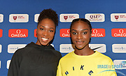 Tianna Bartoletta (GBR), left, and Dina Asher-Smith (GBR) pose during a news conference at the Intercontinental Doha Hotel-The City, Thursday, May 2, 2019, in Doha, Qatar prior to the 2019 IAAF Diamond League Doha meeting. (Jiro Mochizuki/Image of Sport)