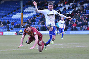 Bury Forward, Ryan Lowe and Bradford City Defender, Rory McArdle during the Sky Bet League 1 match between Bury and Bradford City at the JD Stadium, Bury, England on 5 March 2016. Photo by Mark Pollitt.