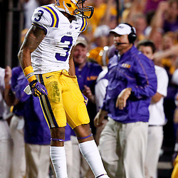 November 3, 2012; Baton Rouge, LA, USA;  LSU Tigers wide receiver Odell Beckham (3) reacts after a catch against the Alabama Crimson Tide during a game at Tiger Stadium. Alabama defeated LSU 21-17. Mandatory Credit: Derick E. Hingle-US PRESSWIRE