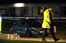 © Licensed to London News Pictures. 13/04/2019.<br /> Orpington, UK. The car that struck the child. A child is in a critical condition in hospital after being hit by a blue car in Orpington, South East London tonight. Traffic police are on scene with cordons in place on Court Road A224. Photo credit: Grant Falvey/LNP