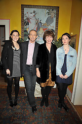 DAN TOPOLSKI and his wife SUSAN GILMOUR with their children, Left to right, EMMA and TAMSIN at a party to celebrate the publication of Charles Glass's new book 'Americans in Paris' held at 12 Lansdowne Road, London W1 on 25th March 2009.