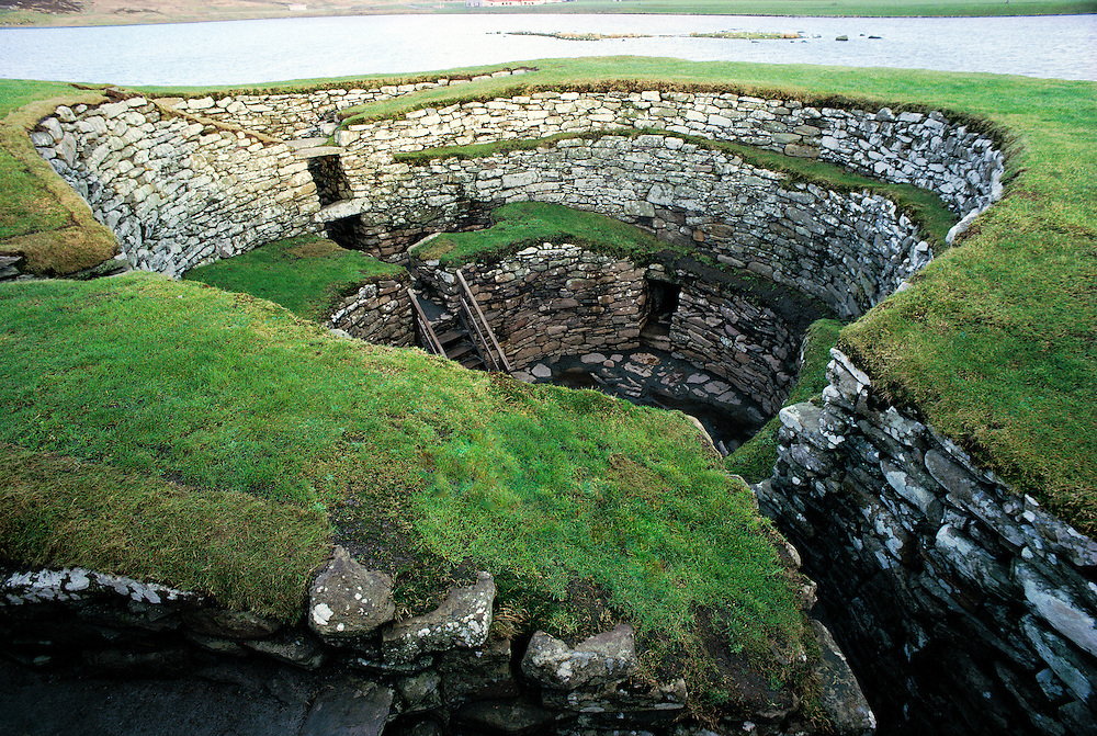 Massive walls and interior of Clickhimin prehistoric broch on the edge of town of Lerwick, Mainland, Shetland Islands, Scotland
