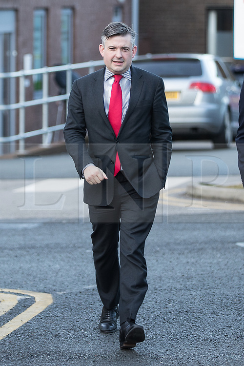 © Licensed to London News Pictures. 26/01/2018. Lancaster, UK. Shadow Health Secretary JONATHAN ASHWORTH MP (pictured arriving) and Lancaster and Fleetwood MP Cat Smith visit Lancaster Royal Infirmary and tour Accident and Emergency and the wards on a day when the A&E department at the hospital was at 100% of capacity with no spare cubicles . Labour say the NHS is in crisis in the North West with patients waiting in ambulances outside hospitals for over an hour and hospitals running out of beds. Photo credit: Joel Goodman/LNP