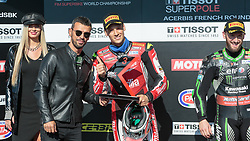 September 29, 2018 - 32, Lorenzo Savadori, ITA, Aprilia RSV4 RF, Milwaukee Aprilia, SBK 2018, MOTO - SBK Magny-Cours Grand Prix 2018, SuperPole, 2018, Circuit de Nevers Magny-Cours, Acerbis French Round, France ,September 29 2018, action during the SBK SuperPole of the Acerbis French Round on September 29 2018 at Circuit de Nevers Magny-Cours, France (Credit Image: © AFP7 via ZUMA Wire)