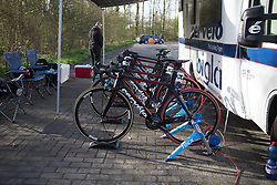 Cervélo-Bigla Cycling Team bikes are ready for the warm-up before Stage 1a of the Healthy Ageing Tour - a 16.9 km time trial, starting and finishing in Leek on April 5, 2017, in Groeningen, Netherlands.