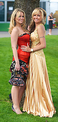 LIVERPOOL, ENGLAND - Friday, April 9, 2010: Jo Carden from Halwood (L) and Sharon Kevan from Runcorn (R) during Ladies' Day on the second day of the Grand National Festival at Aintree Racecourse. (Pic by David Rawcliffe/Propaganda)