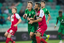 Andres Vombergar, Sanin Muminovic during football match between NK Olimpija Ljubljana and Aluminij in Round #9 of Prva liga Telekom Slovenije 2018/19, on September 23, 2018 in Stozice Stadium, Ljubljana, Slovenia. Photo by Morgan Kristan