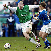 Hibs v St Johnstone   02.03.02<br />Garry O'Connor turns Ross Forsyth<br /><br />Pic by Graeme Hart<br />Copyright Perthshire Picture Agency<br />Tel: 01738 623350 / 07990 594431