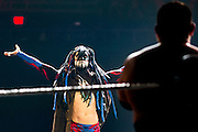 Finn Balor looks on before fighting Samoa Joe during NXT Takeover: Dallas on April 1, 2016 in Dallas, Texas.