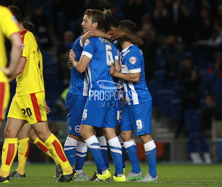 Brighton central midfielder Dale Stephens celebrates after scoring Brighton's second goal during the Sky Bet Championship match between Brighton and Hove Albion and Rotherham United at the American Express Community Stadium, Brighton and Hove, England on 15 September 2015. Photo by Bennett Dean.