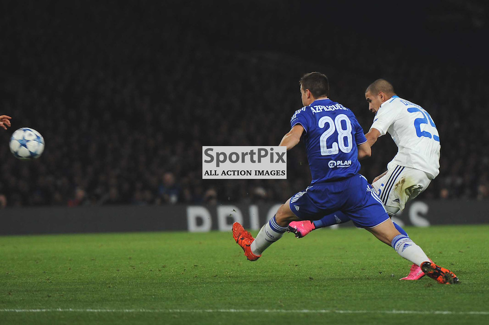 Dynamo Kievs Derlis Gonzalez gets a shot away during the Chelsea v Dynamo Kiev champions league match in the group stage on the 4th November 2015