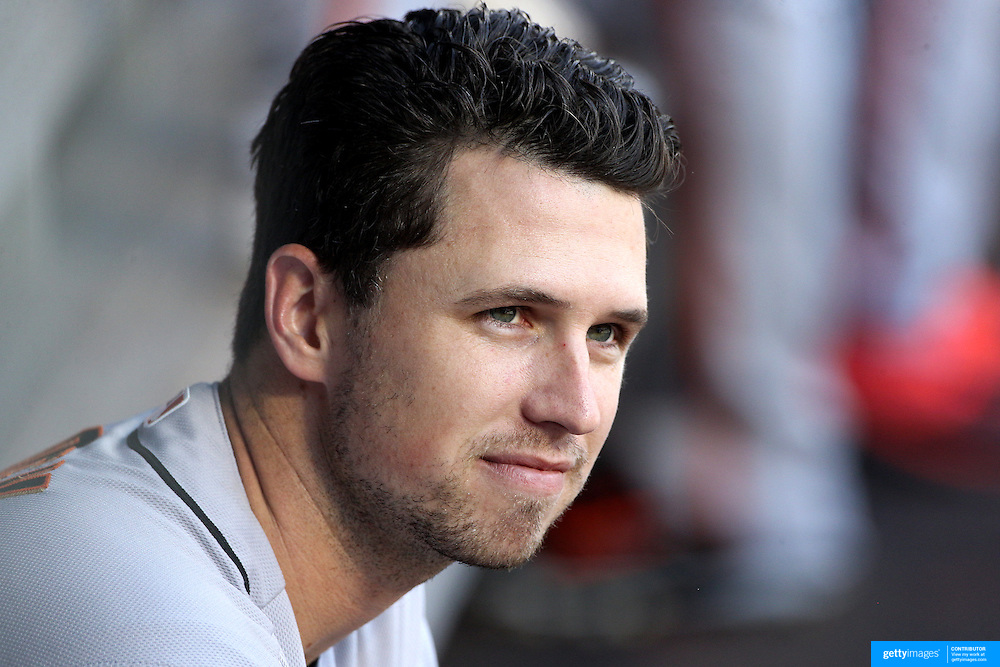 NEW YORK, NEW YORK - APRIL 30:  Buster Posey #28 of the San Francisco Giants in the dugout during the New York Mets Vs San Francisco Giants MLB regular season game at Citi Field on April 30, 2016 in New York City. (Photo by Tim Clayton/Corbis via Getty Images)