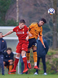 WOLVERHAMPTON, ENGLAND - Tuesday, December 19, 2017: Liverpool's Adam Lewis and Wolverhampton Wanderer's Diego Lattie during an Under-18 FA Premier League match between Wolverhampton Wanderers and Liverpool FC at the Sir Jack Hayward Training Ground. (Pic by David Rawcliffe/Propaganda)