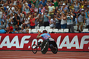 David Weir waves goodbye to the crowd after winning his last T54 800m race during the Muller Anniversary Games at the London Stadium, London, England on 9 July 2017. Photo by Martin Cole.