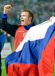 Matej Mavric of Slovenia celebrates at  the 2010 FIFA World Cup South Africa Qualifying match between Slovakia and Slovenia, on October 10, 2009, Tehelne Pole Stadium, Bratislava, Slovakia.  (Photo by Vid Ponikvar / Sportida)
