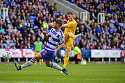 Preston North End Forward Joe Garner (14) takes a shot during the Sky Bet Championship match between Reading and Preston North End at the Madejski Stadium, Reading, England on 30 April 2016. Photo by Jon Bromley.