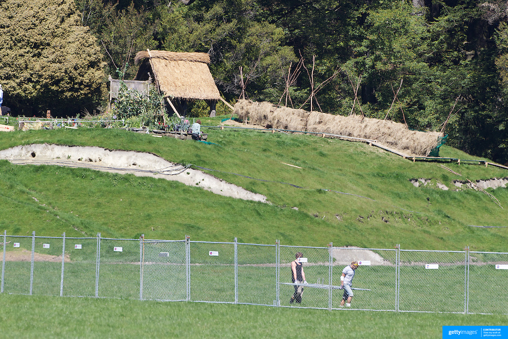 Final preparations take place on set before the shooting of  Executive producer, writer and director Sir Peter Jackson's sequel 'The Hobbit: An Unexpected Journey' in a remote valley in Paradise, near Glenorchy, 66km from Queenstown. South Island, New Zealand. 16th November, 2011