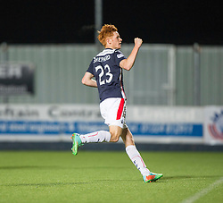 Falkirk's Scott Shepherd cele scoring his penalty.<br /> Falkirk beat Cowdenbeath in a penalty shoot-out, second round League Cup tie played at The Falkirk Stadium.