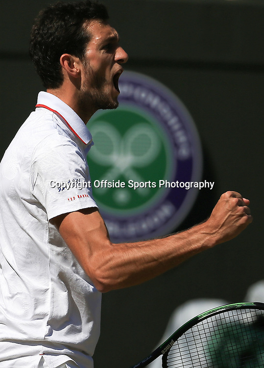 4 July 2015 - Wimbledon Tennis (Day 6) - James Ward (GBR) reacts during his third round match - Photo: Marc Atkins / Offside.