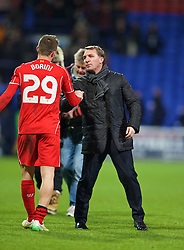 BOLTON, ENGLAND - Wednesday, February 4, 2015: Liverpool's manager Brendan Rodgers congratulates Fabio Borini after the 2-1 victory against Bolton Wanderers during the FA Cup 4th Round Replay match at the Reebok Stadium. (Pic by David Rawcliffe/Propaganda)