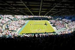 LONDON, ENGLAND - Wednesday, June 24, 2009: Simon Greul (GER) takes on Novak Djokovic (SRB) during the Gentlemen's Singles 2nd Round match on day three of the Wimbledon Lawn Tennis Championships at the All England Lawn Tennis and Croquet Club. (Pic by David Rawcliffe/Propaganda)