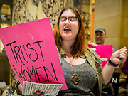 04 MAY 2017 - ST. PAUL, MN: Women  chant pro-choice slogans in the Minnesota State Capitol. About 50 people came to a protest to urge Minnesota State Senators to vote against two bills supported by the Republican party that would restrict access to women's health care in Minnesota. The protest was organized by  NARAL Pro-Choice Minnesota, NCJW Minnesota, and Planned Parenthood Minnesota. The Senate passed the bills but Minnesota's Democratic governor is expected to veto the legislation when it reaches his desk.     PHOTO BY JACK KURTZ
