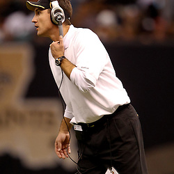 November 21, 2010; New Orleans, LA, USA; New Orleans Saints defensive backs coach Dennis Allen on the field during the second half against the Seattle Seahawks at the Louisiana Superdome. The Saints defeated the Seahawks 34-19. Mandatory Credit: Derick E. Hingle