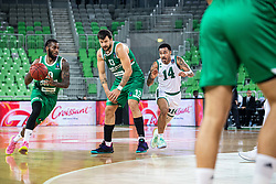 Codi Miller-McIntyre of KK Cedevita Olimpija and Andrija Stipanovic of KK Cedevita Olimpija with Dallas Moore of Nanterre 92 during EuroCup basketball match between teams KK Cedevita Olimpija and Nanterre 92 in Round 4, Arena Stozice, 23. October, Ljubljana, Slovenia. Photo by Grega Valancic / Sportida