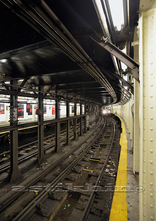 Subway train on  station in Manhattan.
