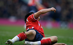 WEST BROMWICH, ENGLAND - Saturday, December 15, 2007: Charlton's Zhi Zheng goes down in the penalty area but no penalty was awarded during the League Championship match against West Bromwich Albion at the Hawthorns. (Photo by David Rawcliffe/Propaganda)