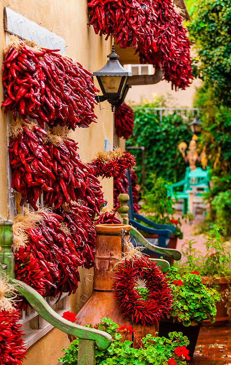 Ristras (drying red chile pepper pods), Old Town Plaza, Albuquerque, New Mexico USA