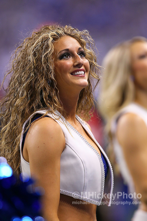 Jan. 08, 2011; Indianapolis, IN, USA; An Indianapolis Colts Cheerleader seen before the start of the game against the New York Jets during the 2011 AFC wild card playoff at Lucas Oil Stadium. Mandatory credit: Michael Hickey-US PRESSWIRE