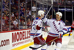 February 1, 2008; Newark, NJ, USA;  New York Rangers left wing Brendan Shanahan (14) congratulates New York Rangers center Brandon Dubinsky (17) on his goal during the first period at the Prudential Center in Newark, NJ.