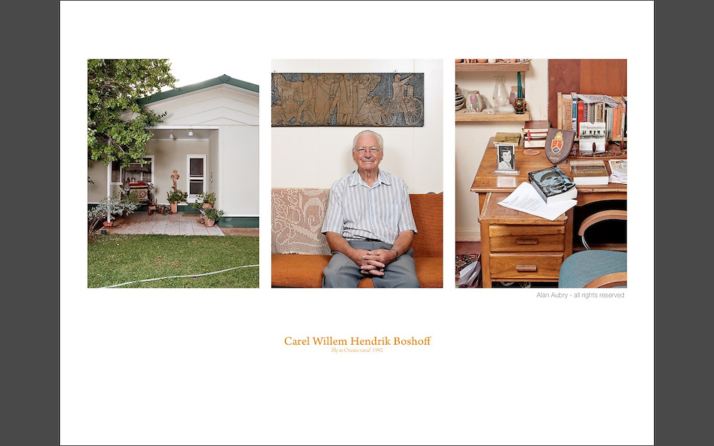 Carel Willem Hendrik Boshoff.<br /> Lives in Orania since 1992 After being a senior politician and activist for the Afrikaner's cause, Carel WH Boshoff now focuses on writing and reading. He is the son in law of Hendrik Verwoerd, the apartheid's architect. He's also one of the town founders.