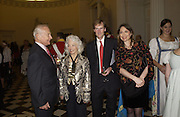 Buzz Aldrin, Lois Aldrin, The Duke of Northumberland and Freda Katritzky, Launch of ' The World of Private Castles, Palaces and Estates. Syon House. 31 October 2005. ONE TIME USE ONLY - DO NOT ARCHIVE © Copyright Photograph by Dafydd Jones 66 Stockwell Park Rd. London SW9 0DA Tel 020 7733 0108 www.dafjones.com