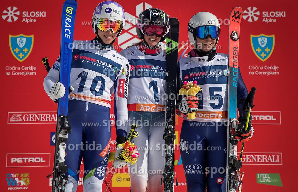 2nd. - Ana Bucik (SLO), 1st - Doriane Escane (FRA), 3th. - Luisa Matilde Maria Bertani (ITA ).during the ceremony of giant slalom for European Cup on 27.2.2020 on Krvavec, Cerklje na Gorenjskem, Slovenia. Photo by Urban Meglič / Sportida