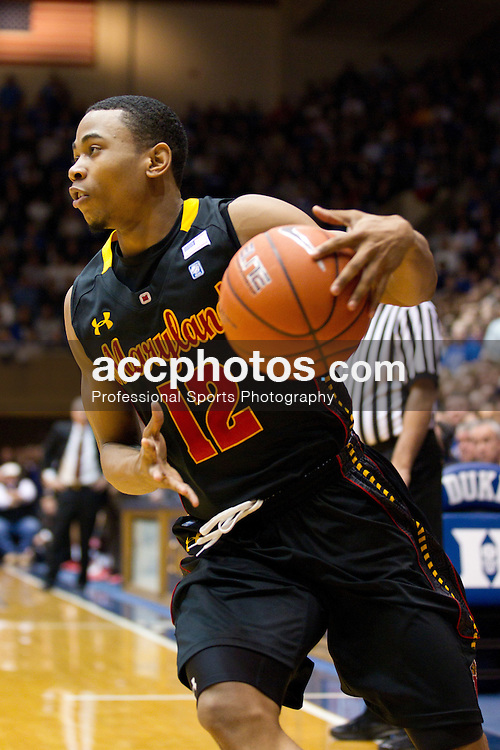 DURHAM, NC - JANUARY 09: Terrell Stoglin #12 of the Maryland Terrapins dribbles the ball while playing against the Duke Blue Devils on January 09, 2011 at Cameron Indoor Stadium in Durham, North Carolina. Duke won 71-64. (Photo by Peyton Williams/Getty Images) *** Local Caption *** Terrell Stoglin
