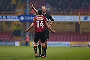 todays referee Mark Brown reprimands Bradford City midfielder, on loan from West Ham United, Josh Cullen (14)  during the EFL Sky Bet League 1 match between Bradford City and Millwall at the Northern Commercials Stadium at Valley Parade, Bradford, England on 21 January 2017. Photo by Simon Davies.