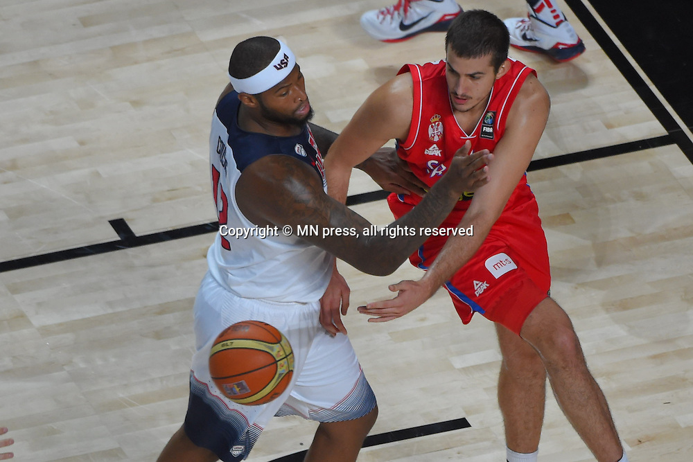 DEMARCUS COUSINS of United states of America basketball team in action during Final FIBA World cup match against NEMANJA BJELICA of Serbia, Madrid, Spain Photo: MN PRESS PHOTO<br /> Basketball, Serbia, United states of America, Final, FIBA World cup Spain 2014