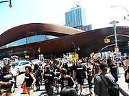 A rally and march for Akai Gurley was held beginning at Barclay Center in Brooklyn, followed by march though the streets to the home of Ken Thompson which was block by police. The was followed by a march to the same housing complex were the young Akai Gurley was shot and killed by Peter Liang.