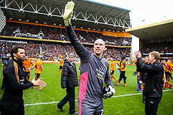 Free to use courtesy of SkyBet. John Ruddy and the other Wolverhampton Wanderers players celebrate at the end of the game after securing automatic promotion from the Sky Bet Championship to the Premier League - Rogan/JMP - 15/04/2018 - Molineux - Wolverhampton, England - Wolverhampton Wanderers v Birmingham City - Sky Bet Championship.