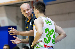 Jure Zdovc, head coach of Slovenia talking to Matic Rebec of Slovenia during friendly basketball match between National teams of Slovenia and Ukraine at day 3 of Adecco Cup 2014, on July 26, 2014 in Rogaska Slatina, Slovenia. Photo by Vid Ponikvar / Sportida.com
