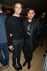 Left to right, TOMAS AUKSAS and PABLO GANGULI at the Liberatum Cultural Honour For Sir Terence Conran Dinner held at the Sanderson Hotel, Berners Street, London on 19th November 2013.