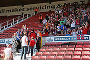 Accrington Stanley chairman Andy Holt and the fans celebrating the league cup win during the EFL Sky Bet League 2 match between Swindon Town and Accrington Stanley at the County Ground, Swindon, England on 5 May 2018. Picture by Gary Learmonth.