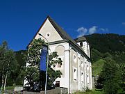 31 JULY 2007 -- TSCHAMUT, SWITZERLAND: The Protestant reformed church in Tschamut, Switzerland, in the Romanisch section of Switzerland.  Photo by Jack Kurtz