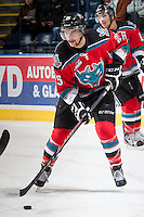 KELOWNA, CANADA - NOVEMBER 30: Colton Heffley #25 of the Kelowna Rockets warms up against the Kamloops Blazers on November 30, 2013 at Prospera Place in Kelowna, British Columbia, Canada.   (Photo by Marissa Baecker/Shoot the Breeze)  ***  Local Caption  ***